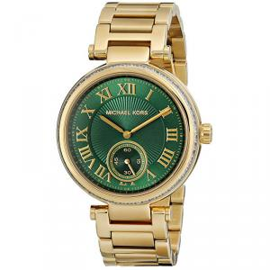 Michael Kors Green Yellow Gold Plated Steel Skylar MK6065 Women's Wristwatch 41MM