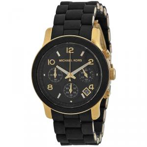 Michael Kors Black PVC and Yellow Gold Plated Steel Runway MK5191 Women's Wristwatch 38MM