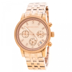 Michael Kors Rose Gold Plated Stainless Steel Ritz MK6077 Women's Wristwatch 37 mm