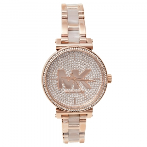 Michael Kors Rose Gold Tone Stainless Steel Crystals Sofie MK4336 Women's Wristwatch 36 mm