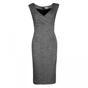Michael Kors Monochrome Silk Wool Draped Neck Sleeveless Dress M