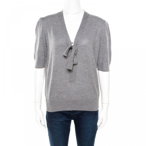 Michael Kors Grey Melange Merino Wool Tie Neck Detail Short Sleeve Sweater L