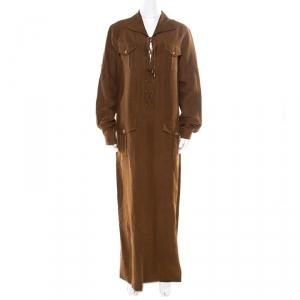 Micahel Kors Pecan Brown Linen Silk Lace Up Safari Dress L used