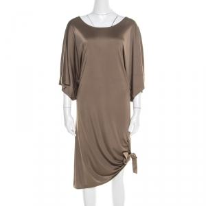 Michael Kors Truffle Brown Satin Tie Detail Dress L