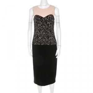 Michael Kors Black Lace Print Stretch Wool Crepe Dress M used