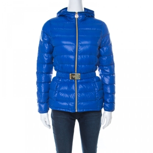 Michael Kors Blue Quilted Waist Belt Detail Hooded Jacket XS
