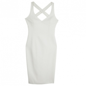 Michael Kors White BodyCon Crossback Sheath Dress S