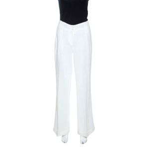 Michael Kors Optic White Linen Wide Leg Trousers S
