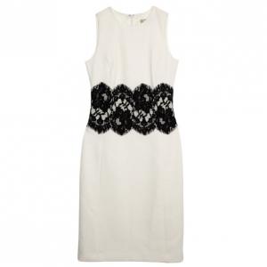 Michael Kors White Wool Lace Belt Dress M