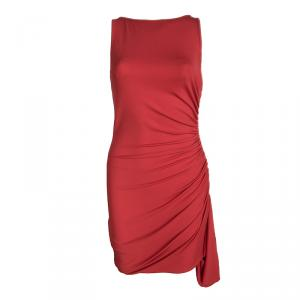 Michael Kors Red Ruched Zip Detail Sleeveless Dress M used