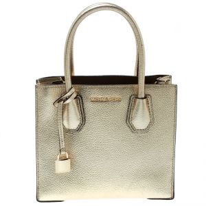 Michael Kors Gold Leather Mercer Top Handle Bag