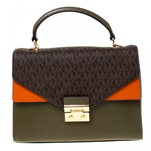 Michael Kors Multicolor Leather and Coated Canvas Sloan Top Handle Bag
