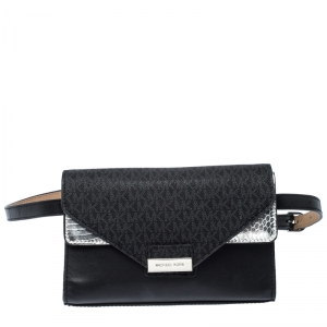 Michael Kors Black/Silver Signature Canvas and Python Embossed Leather Fanny Pack Belt Bag