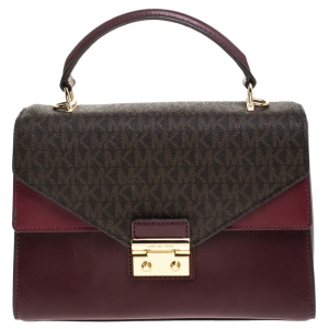 Michael Kors Burgunady/Brown Leather and Coated Canvas Sloan Top Handle Bag