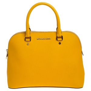 MICHAEL Micheal Kors Yellow Leather Cindy Dome Satchel