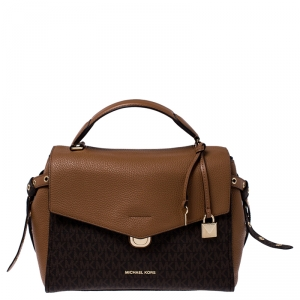 Michael Kors Brown Signature Coated Canvas and Leather Top Handle Bag