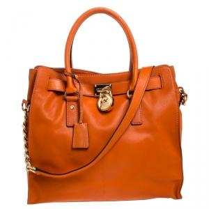حقيبة يد مايكل مايكل كورس Hamilton North South كبيرة جلد برتقالية
