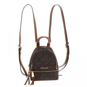 Michael Kors Brown Coated Canvas Rhea Mini Backpack