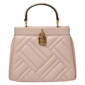 Michael Kors Pink Leather Frame Gramercy Top Handle Bag
