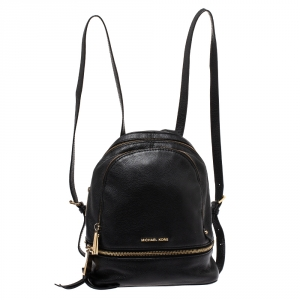 Michael Kors Black Leather Small Rhea Backpack