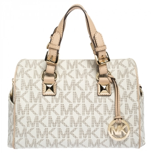MICHAEL Michael Kors Ivory/Beige Signature Coated Canvas and Leather Grayson Boston Bag