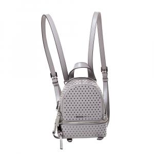 Michael Kors Grey Perforated Leather Mini Rhea Backpack