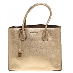 """حقيبة يد مايكل كورس """"ميرسير"""" كبيرة جلد ذهبي ميتاليك"""