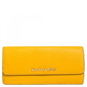 Michael Kors Mustard Saffiano Leather Jet Set Flat Wallet