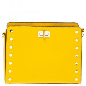 Michael Kors Yellow Leather Sylvie Crossbody Bag