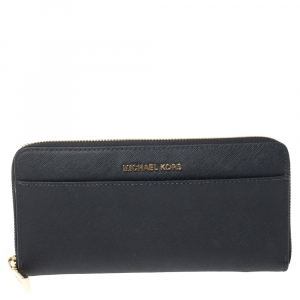 Michael Kors Navy Blue Leather Zip Around Continental Wallet