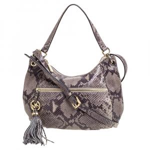 Michael Michael Kors Grey/Black Python Embossed Leather Crossbody Bag