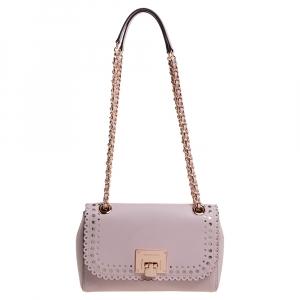 Michael Kors Powder Pink Perforated Leather Hannah Shoulder Bag