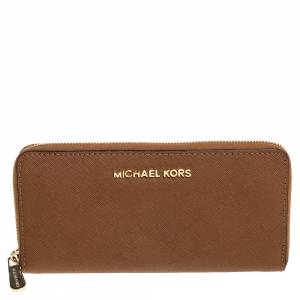 Michael Kors Brown Leather Jet Set Travel Zip Around Wallet