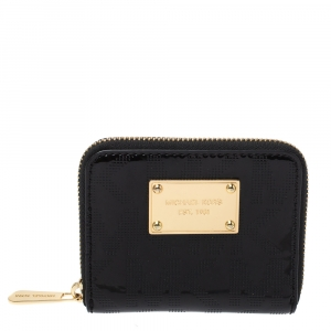 Michael Kors Black Patent Leather Zip Around Wallet
