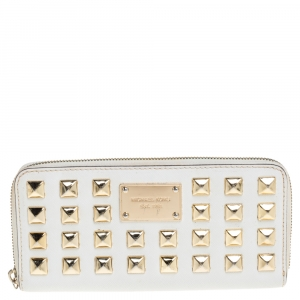 Michael Kors White Leather Studded Zip Around Wallet
