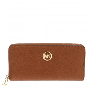 Michael Kors Tan Saffiano Leather Travel Zip Around Continental Wallet
