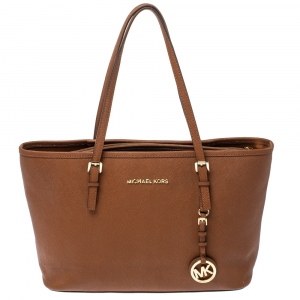 Michael Kors Brown Saffiano Leather Jet Set Middle Zip Tote