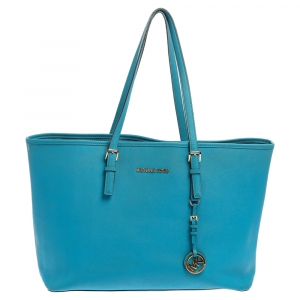حقيبة مايكل مايكل كورس جيت سيت جلد أزرق متوسطة