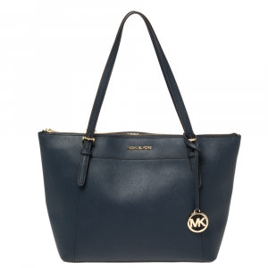 Michael Kors Blue Leather Large Voyager East/West Top Zip Tote