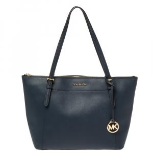 حقيبة يد مايكل كورس فوياجيه إيست/ ويست جلد أزرق بسحاب علوي
