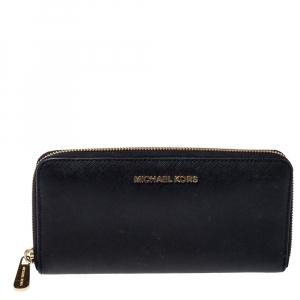 Michael Kors Black Leather Jet Set Travel Zip Around Wallet