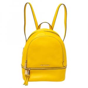 Michael Kors Yellow Leather Rhea Zip Backpack