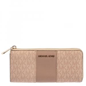 Michael Kors Pink Signature Leather Zip Around Wallet