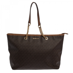 Michael Kors Brown Signature Coated Canvas Jet Set Travel Chain Tote