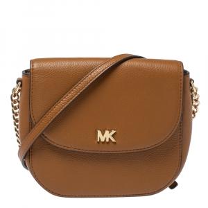 Michael Kors Brown Leather Dome Crossbody Bag