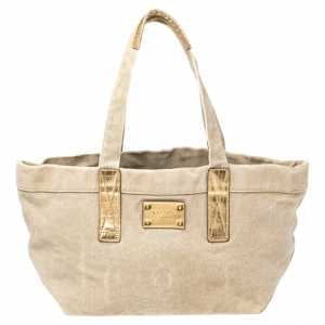 Micheal Kors Beige/Gold Canvas and Croc Embossed Leather Tote