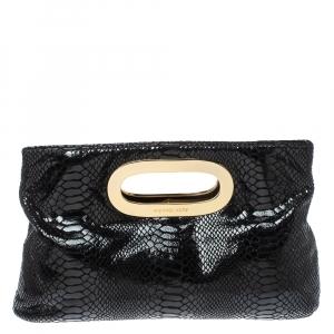 MICHAEL Michael Kors Black Patent Python Embossed Leather Berkley Clutch