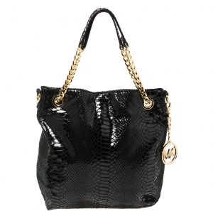 Michael Kors Black Python Embossed Leather Chain Tote