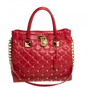 Michael Kors Red Quilted Leather Studded Hamilton Tote