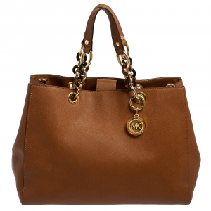 Michael Kors Brown Leather Large Cynthia Tote